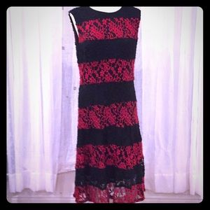 👗 New York & Co XL Red and Black Lace Dress